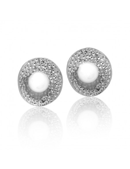 Stud pearl earrings of sterling silver SORLEI