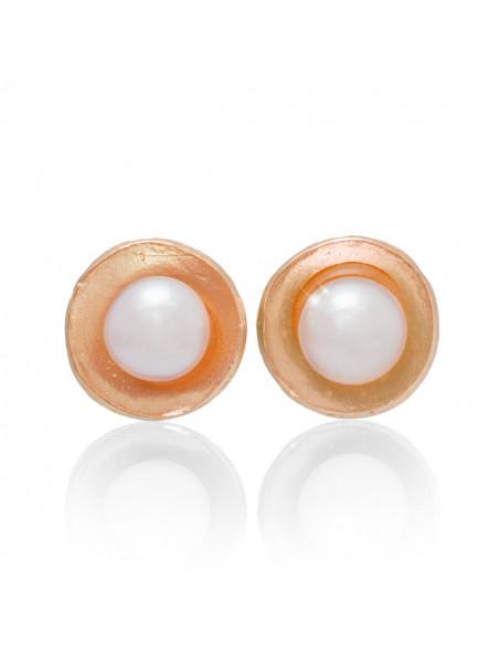 Perlen Ohrstecker aus 925 Silber rosegold GIA
