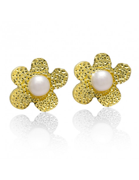 Stud pearl earrings from gold plated sterling silver DEMI