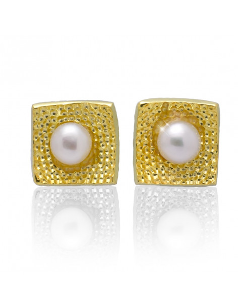 Stud pearl earrings from gold plated sterling silver