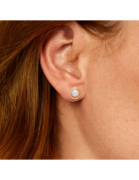 Silver Stud pearl earrings with pearl rose gold GIA 2
