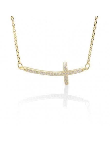 Halskette mit gebogenem Kreuz aus vergoldetem Silber 925 SARAI