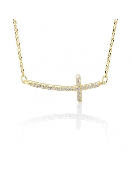 Necklace with cross on side from gold plated silver 925 SARAI