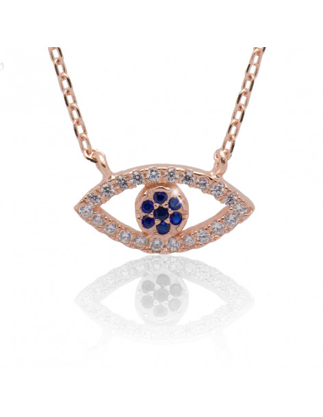Nazar Necklace from rose gold sterling silver 925 SEE