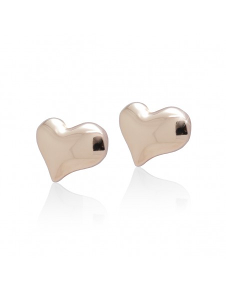 """Stud earrings """"HEART"""" from sterling silver rose gold plated"""