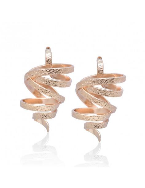 Σκουλαρίκια χειροποίητα ροζ χρυσό FLEVO
