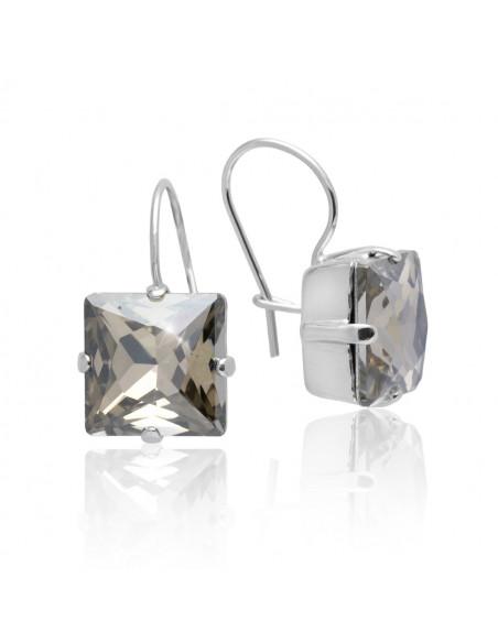 Σκουλαρίκια με ζιργκόν Swarovski® Elements επαργυρωμένο  SETH
