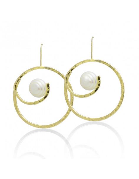 Ohrringe aus vergoldeter Bronze mit Süßwasserperle MATIO