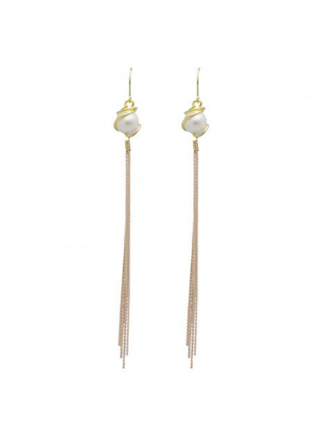 Long earrings from gold plated bronze with pearl SEWA