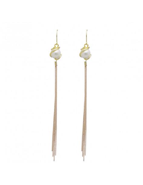Long earrings of bronze with pearl gold SEWA
