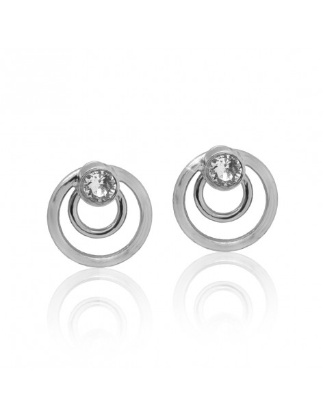 Stud earrings round silver plated with zirconia stones JANN
