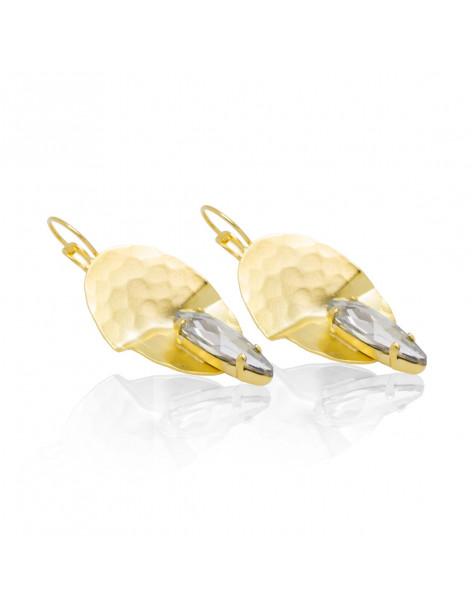 Große Ohrringe aus vergoldeter Bronze mit Zirkonia Stein RAVI