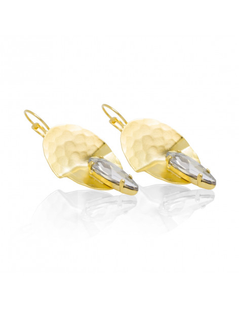Large earrings from gold plated bronze and big zirconia stone RAVI