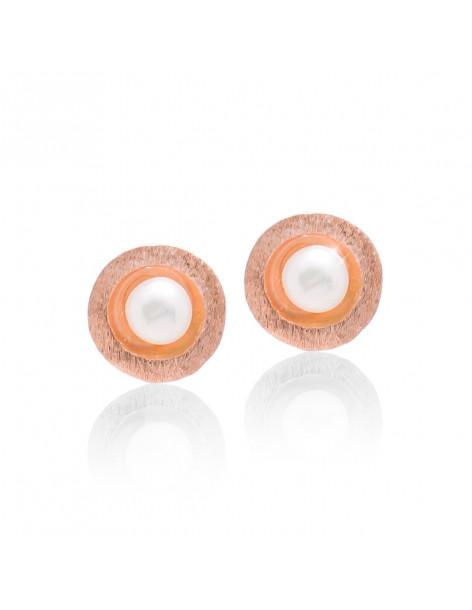Ασημένια σκουλαρίκια μαργαριτάρι καρφωτά ροζ χρυσό DANI