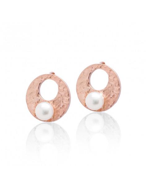 Σκουλαρίκια μαργαριτάρι καρφωτά από γνήσιο ροζ χρυσό ασήμι PEPE