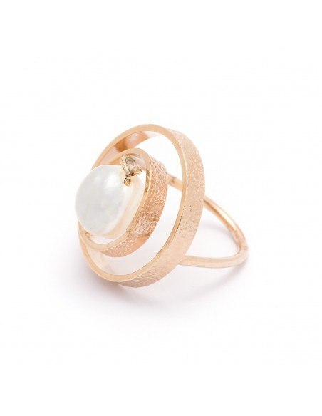 Handmade ring from rose gold plated bronze with freshwater Pearl PENDA