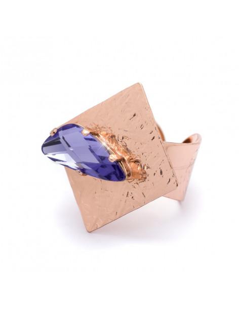 Μεγάλο δαχτυλίδι με ζιργκόν Swarovski® Elements ροζ επίχρυσο JULE