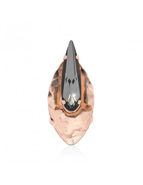 Μεγάλο δαχτυλίδι με μαύρο Swarovski® Element ζιργκόν ροζ επίχρυσο SEAN