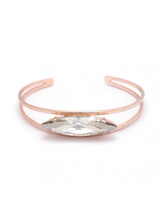 Bangle bracelet from rose gold plated bronze with big Swarovski stone PENI