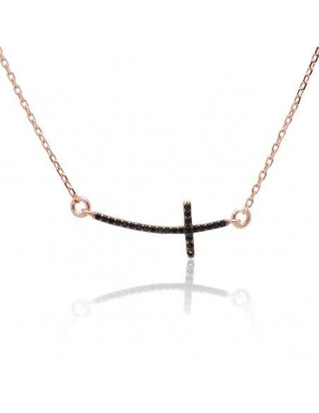 Κολιέ με σταυρό από ασήμι 925 ροζ χρυσό SARAI