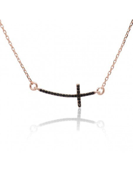Necklace with cross on side from rose gold plated silver 925 SARAI