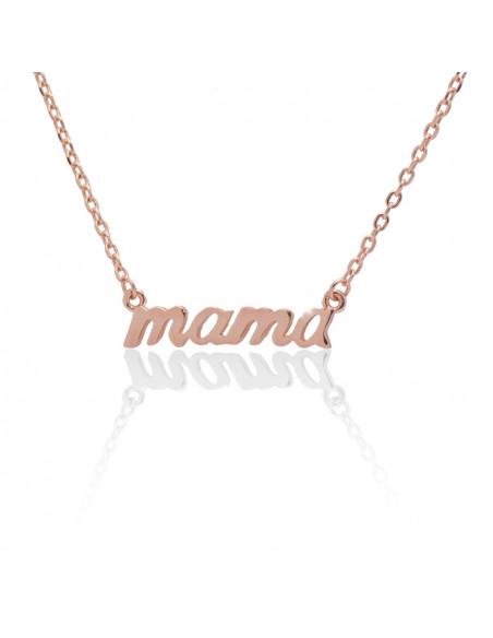 Ασημένιο κολιέ Μαμά ροζ χρυσό ασήμι 925 SALLI