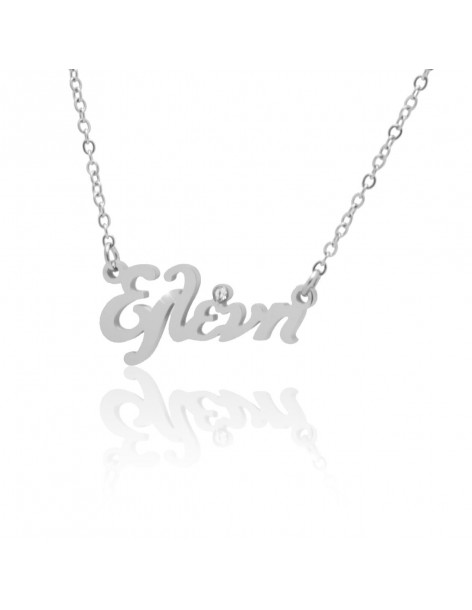 Greek Name Necklace Eleni with crystal silver