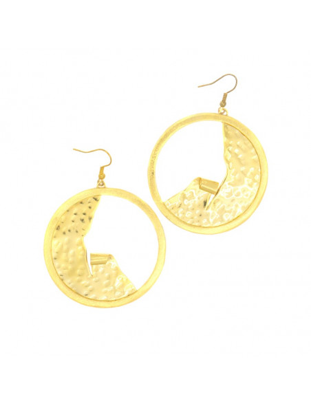 Big Earrings bronze gold plated LEANDRA
