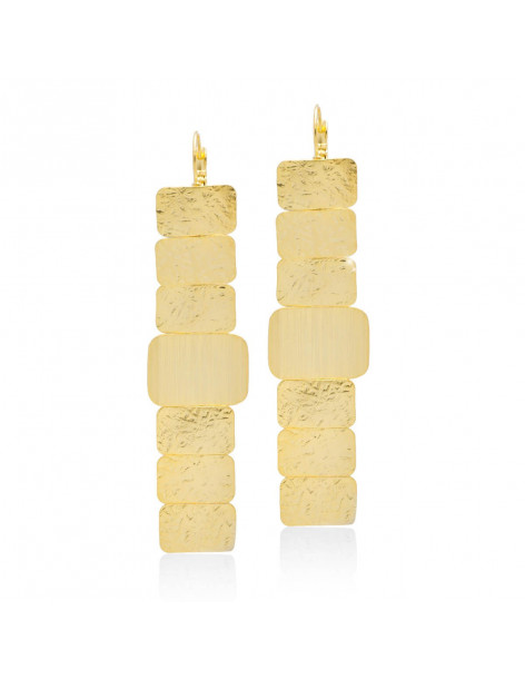 Earrings long from handmade bronze gold plated POLO