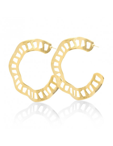 Hoop earrings in ancient greek style of gold plated bronze NAER