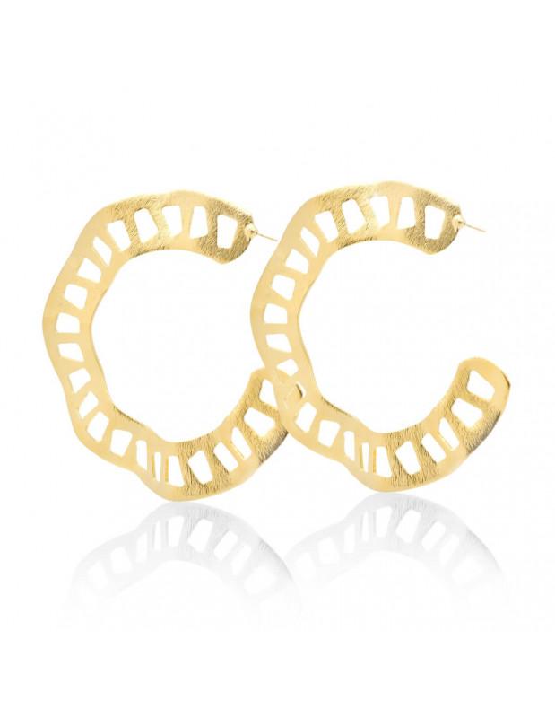 Σκουλαρίκια κρίκοι αρχαιοελληνικά από rose gold μπρούτζο NAER