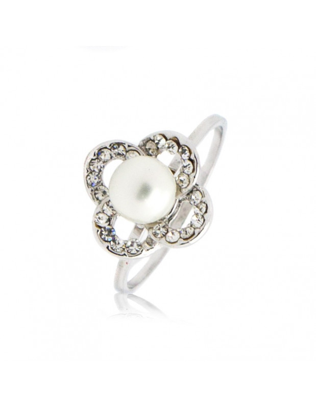 "RING ""PEARLY"" 18K WEISSGOLD VERGOLDET  MIT SWAROVSKI ELEMENTS STEINEN"