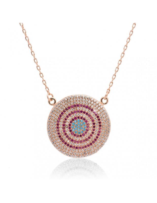 Halskette mit großem Nazar Silber 925 rose gold RHODE