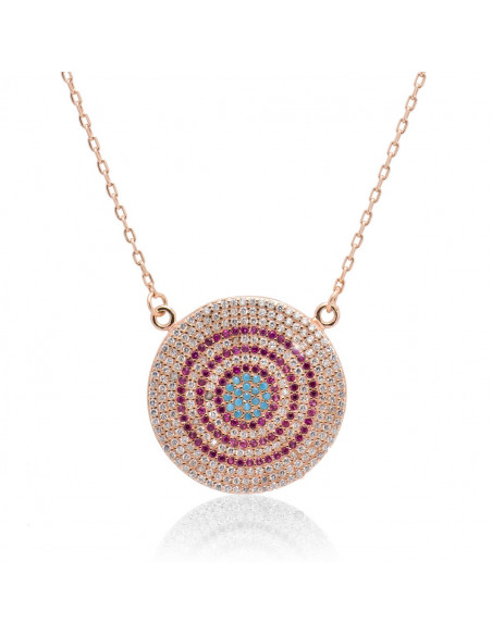 Necklace with big nazar silver 925 rose gold RHODE