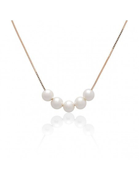 Pearl Necklace from sterling silver rose gold plated EVID