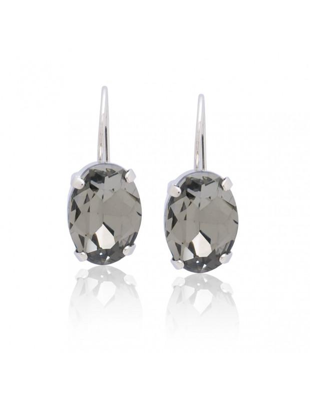Earrings of bronze with Swarovski® Elements silver ORILI