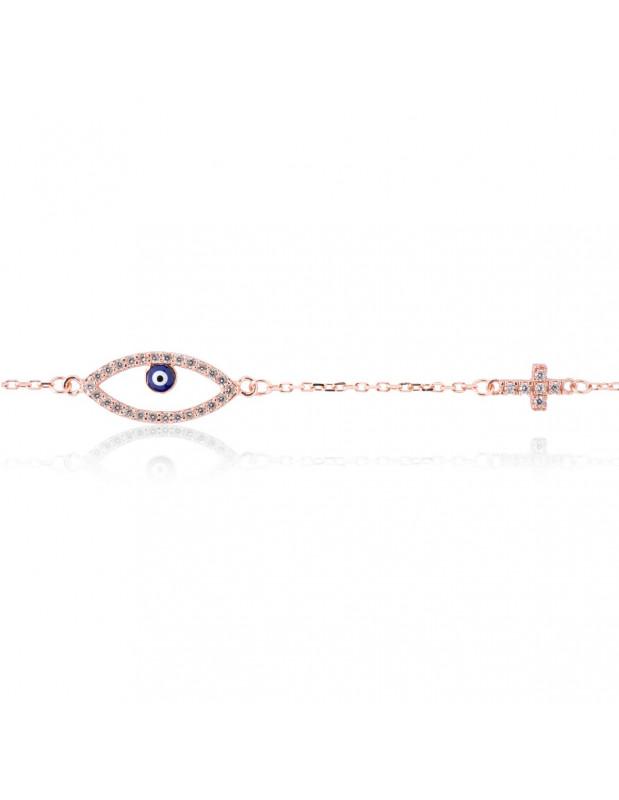 Βραχιόλι με ματάκι και σταυρό από ροζ επίχρυσο ασήμι 925 OPLO