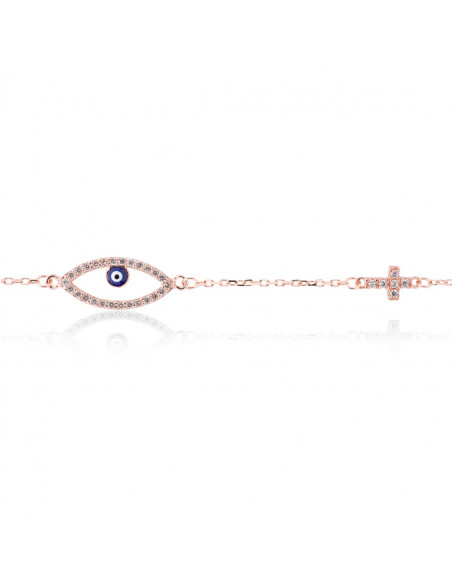 Nazar bracelet with cross from rose gold plated silver 925 OPLO
