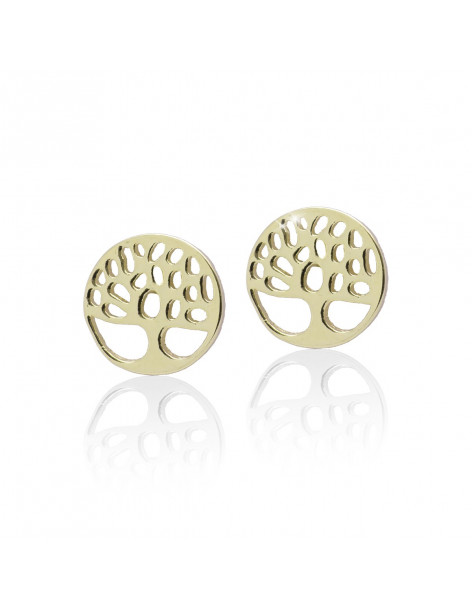 "Stud earrings ""LIFE TREE"" from sterling silver gold plated"