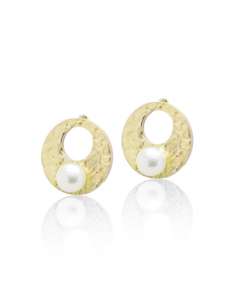 Stud pearl earrings from gold plated sterling silver PEPE