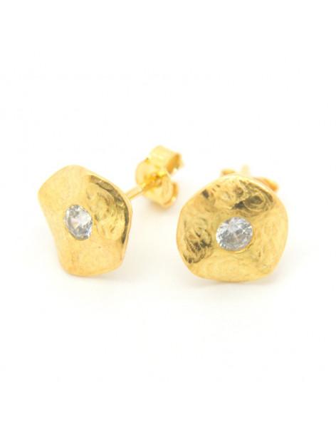 Ασημένια Σκουλαρίκια καρφωτά με ζιργκόν χρυσό LOKE