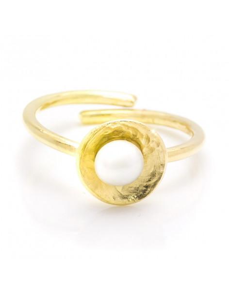 Χειροποίητο δαχτυλίδι μαργαριτάρι από επίχρυσο ασήμι OLIA