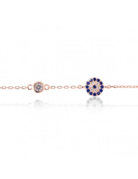 Silver Evil Eye bracelet for girls rose gold plated POLI