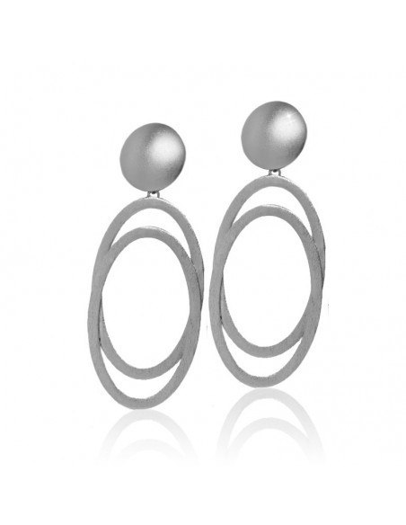 Large earrings from silver plated bronze OVAL