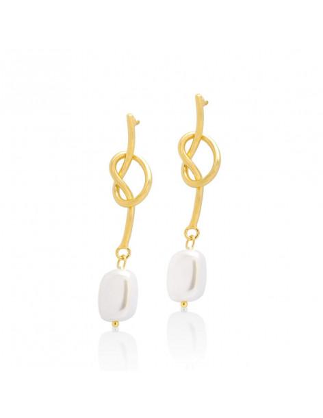 Long pearl earrings of bronze gold HOPI
