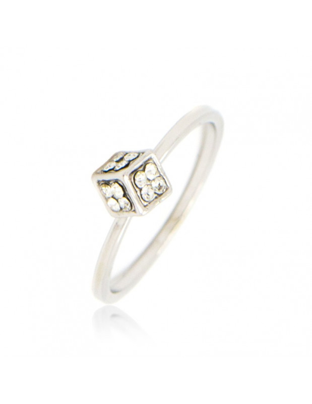 Ring with crystals silver plated DICE