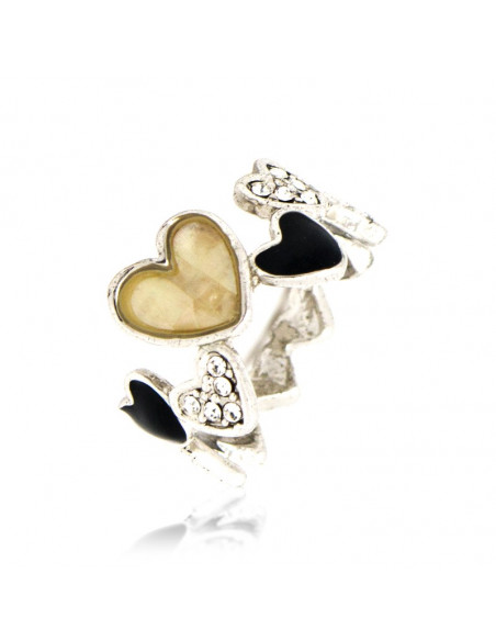 Heart Ring with crystals silver LAPITHES