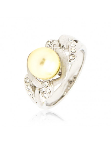Pearl Ring with crystals silver TAGEA