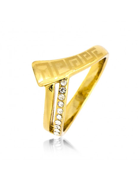 Ring with crystals gold HELENOS