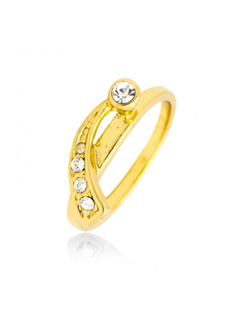 Ring with crystals gold ALEPOU
